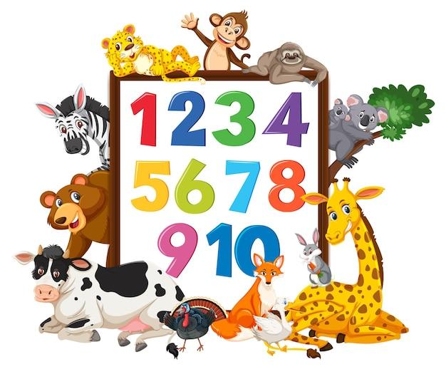 Nummer 0 tot 9 op banner met wilde dieren