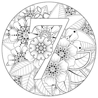 Nummer 1 met mehndi bloem decoratief ornament in etnische oosterse stijl kleurboekpagina