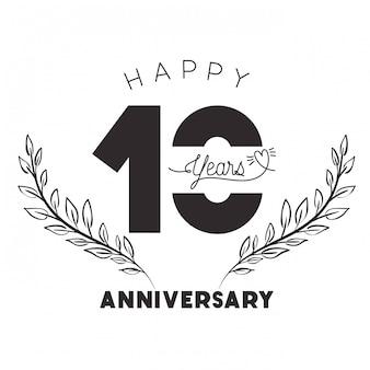 Nummer 10 voor het embleem van de verjaardag of insignes