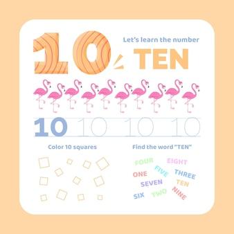 Nummer 10 werkblad met flamingo's