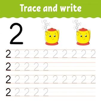 Nummer 2. traceren en schrijven. handschrift praktijk. leren cijfers voor kinderen. onderwijs ontwikkelt werkblad.