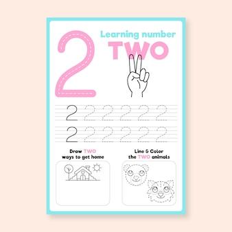 Nummer 2 werkblad met hand