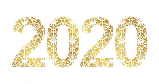Nummer 2020 jaar met gouden bloemenvormen
