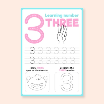 Nummer 3 werkblad met hand
