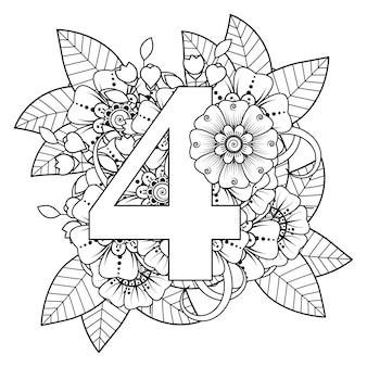 Nummer 4 met mehndi bloem decoratief ornament in etnische oosterse stijl kleurboekpagina