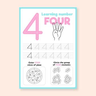 Nummer 4 werkblad met hand