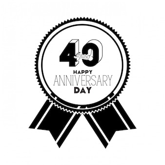 Nummer 40 voor jubileum embleem of insignes