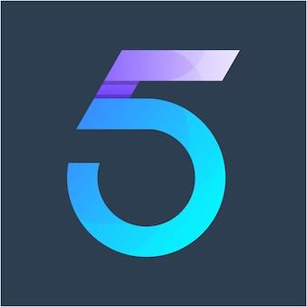 Nummer 5 kleurrijke logo ontwerpsjabloon