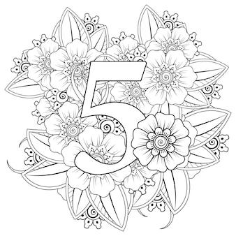 Nummer 5 met mehndi bloem decoratief ornament in etnisch oosterse stijl kleurboekpagina