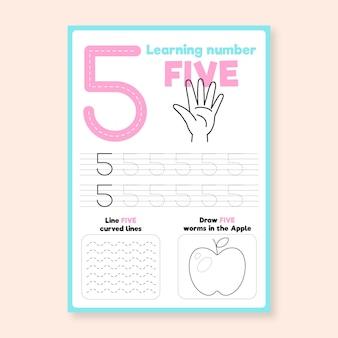 Nummer 5 werkblad met hand