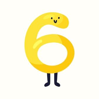 Nummer 6 in kinderstijl. vectorillustratie in vlakke stijl