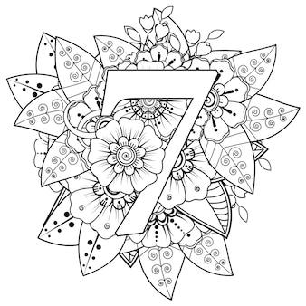 Nummer 7 met mehndi bloem decoratief ornament in etnische oosterse stijl kleurboekpagina