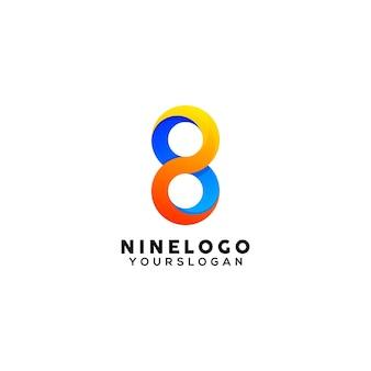 Nummer 8 kleurrijke logo ontwerpsjabloon