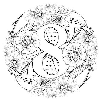 Nummer 8 met mehndi bloem decoratief ornament in etnisch oosterse stijl kleurboekpagina