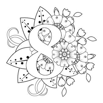 Nummer 8 met mehndi bloem decoratief ornament in etnische oosterse stijl kleurboekpagina