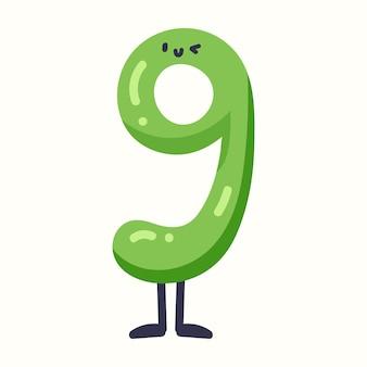 Nummer 9 in kinderstijl. vectorillustratie in vlakke stijl