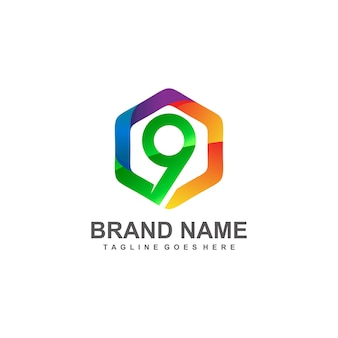 Nummer 9 in zeshoekig logo