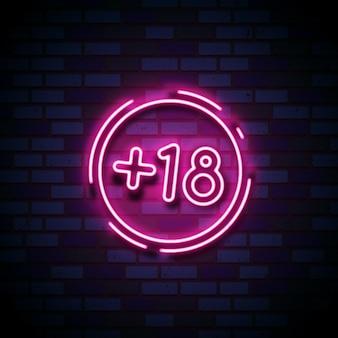 Nummer achttien plus in neonstijlteken