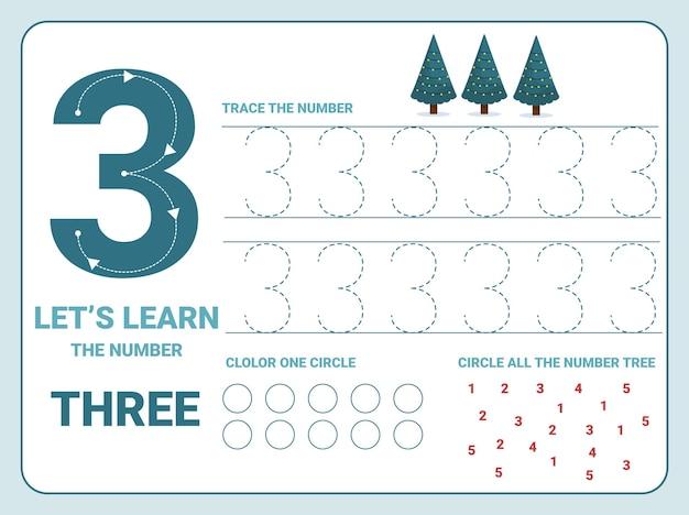 Nummer drie oefenblad voor overtrekken met 3 kerstbomen voor kinderen die leren tellen en schrijven. werkblad voor het leren van getallen.