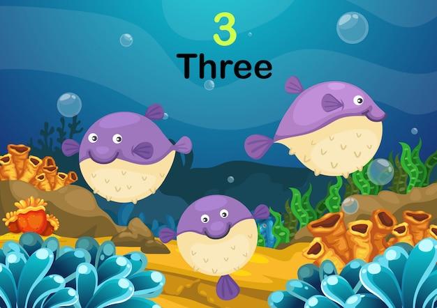 Nummer drie puffer vissen de zee vector