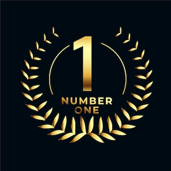 Nummer één gouden label met bladerenkrans