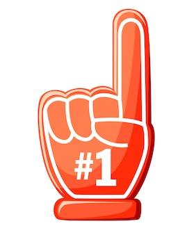 Nummer één handschoen. rode schuimvinger met 1. illustratie op witte achtergrond.