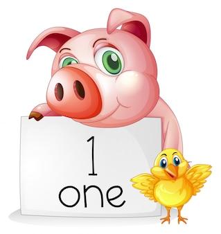 Nummer één tellen met varken en kuiken