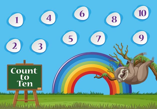 Nummer één tot tien met blauwe hemel en kleurrijke regenboogachtergrond