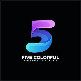 Nummer kleurrijk logo-ontwerp modern