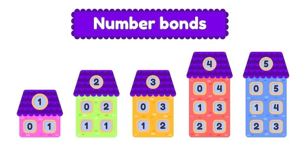 Nummer obligaties. wiskundig werkblad voor de kleuterschool, kleuterschool en schoolleeftijd voor kinderen cartoon huis.