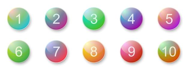Nummer opsommingstekens 1 tot 10. creatieve 3d-knoppen ingesteld. vector illustratie.