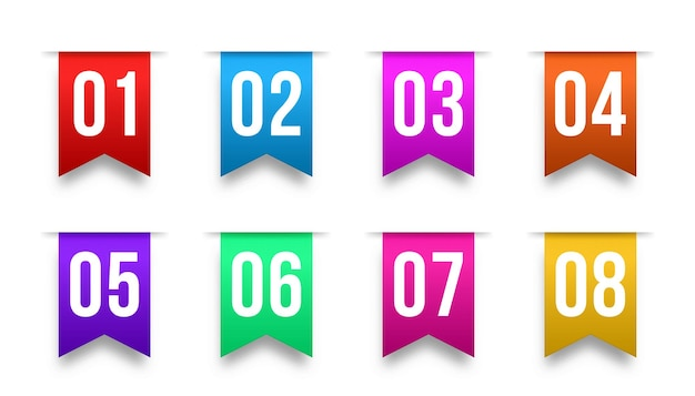Nummer opsommingstekens van één tot twaalf infomarkeringen voor opsommingstekens