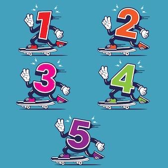Nummer skateboarden character design