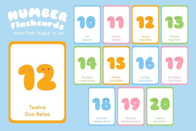 Nummer, tien tot twintig, tweetalige flashcards ingesteld.