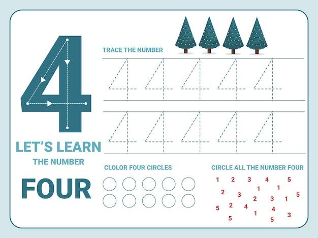 Nummer vier oefenblad met 4 kerstbomen voor kinderen die leren tellen en schrijven. werkblad voor het leren van getallen.