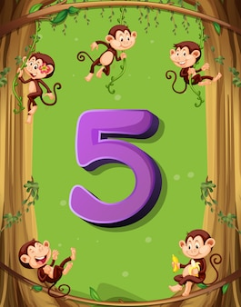Nummer vijf met 5 apen aan de boom
