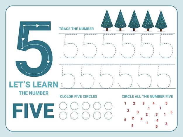 Nummer vijf oefenblad met 5 kerstbomen voor kinderen die leren tellen en schrijven. werkblad voor het leren van getallen.