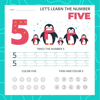 Nummer vijf werkblad voor kinderen