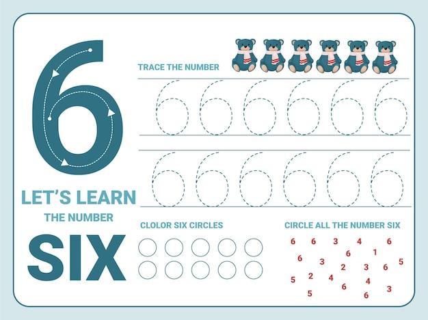 Nummer zes oefenblad voor overtrekken met 6 kerstteddyberen voor kinderen die leren tellen en schrijven. werkblad voor het leren van getallen.