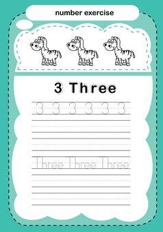 Nummeroefening met cartoon kleurboek