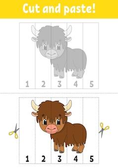 Nummers 1-5 leren. knip en lijm. stripfiguur. onderwijs ontwikkelen werkblad. spel voor kinderen. activiteit pagina.
