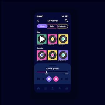 Nummers en podcasts vectorsjabloon voor smartphone-interface afspelen. live radiostations streamen. lay-out van paginaontwerp voor mobiele apps. scherm met muziekafspeellijsten. platte gebruikersinterface voor toepassing. telefoonweergave