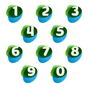 Nummers instellen logo's in groene bladeren en blauwe druppels.