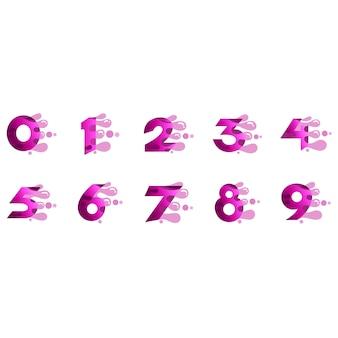 Nummers logo set met snelle bubble vorm
