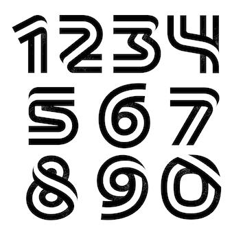 Nummers set gevormd door twee parallelle lijnen met ruistextuur. vector zwart-wit lettertype voor labels, koppen, posters, kaarten enz. Premium Vector