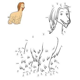 Nummers spel onderwijs van punt naar punt spel voor kinderen hondenrassen afghaanse windhond