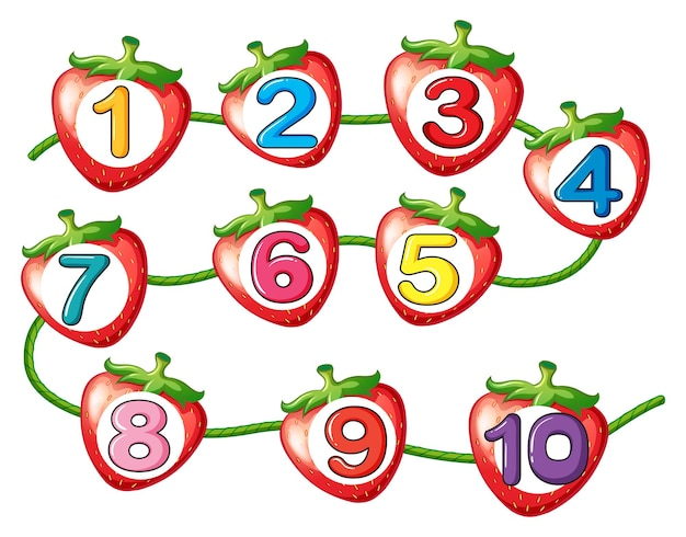 Nummers tellen op aardbeien