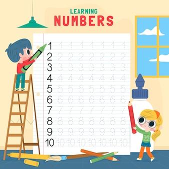 Nummers tracering werkblad voor kinderen