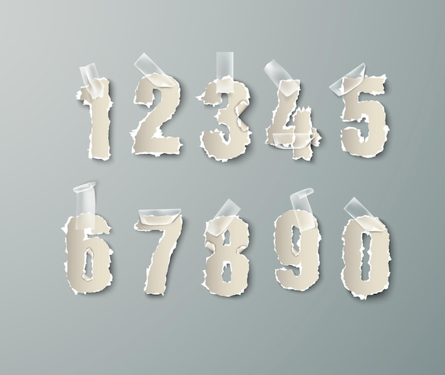 Nummers van gescheurd papier instellen met transparante tape.