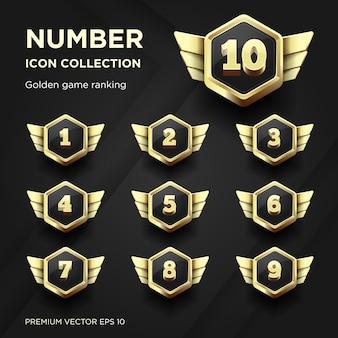 Nummerverzameling gouden spelrangschikking